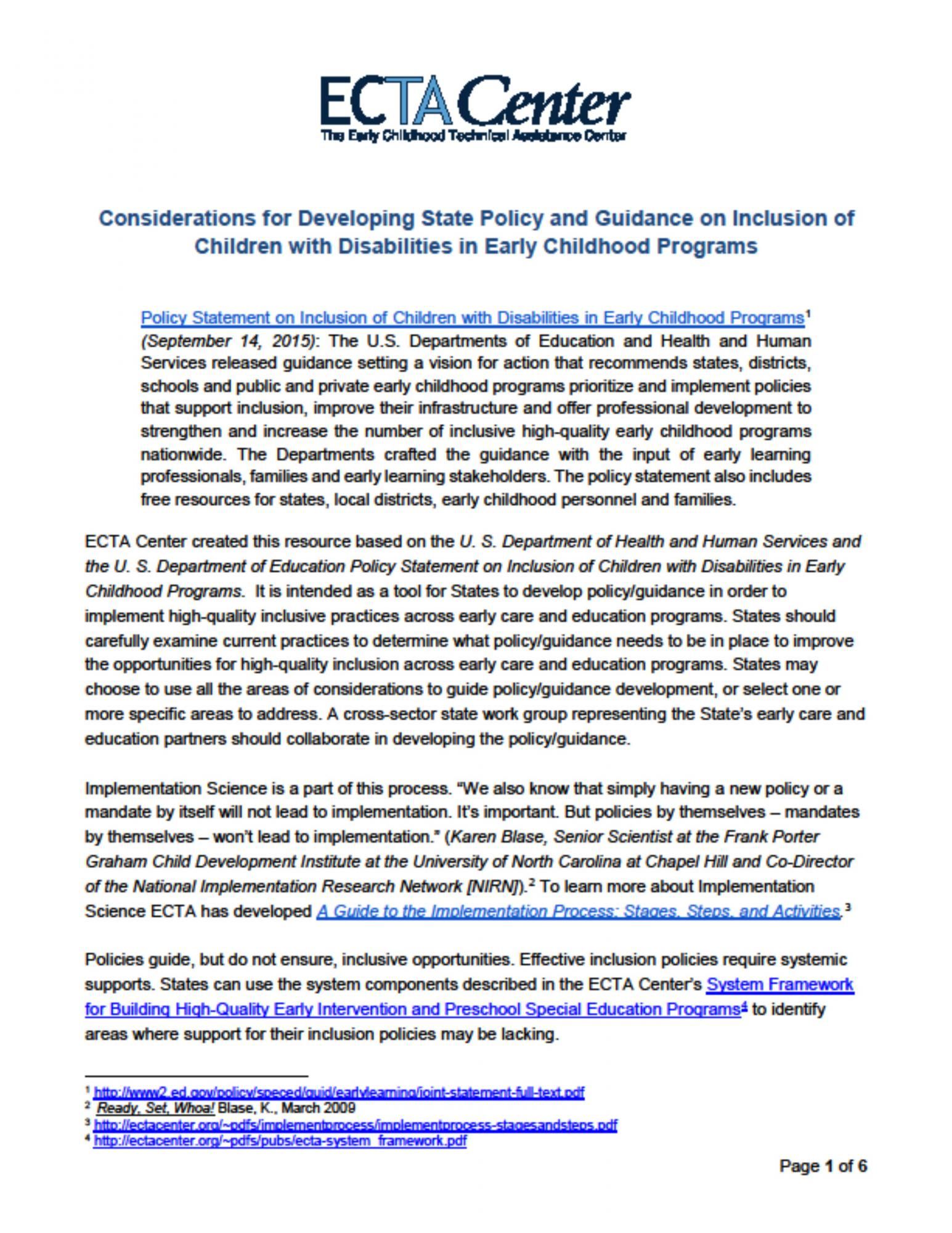 Considerations For Developing State Policy And Guidance On Inclusion