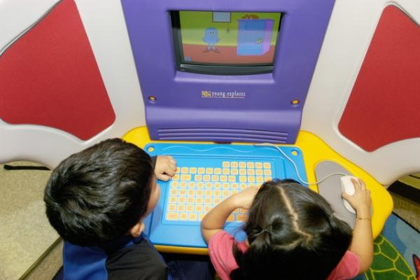 Two children on computer
