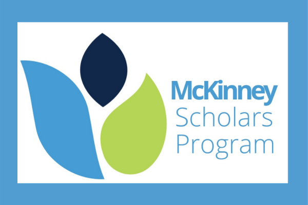 mckinney scholars program logo leaves in light blue dark blue and chartreuse