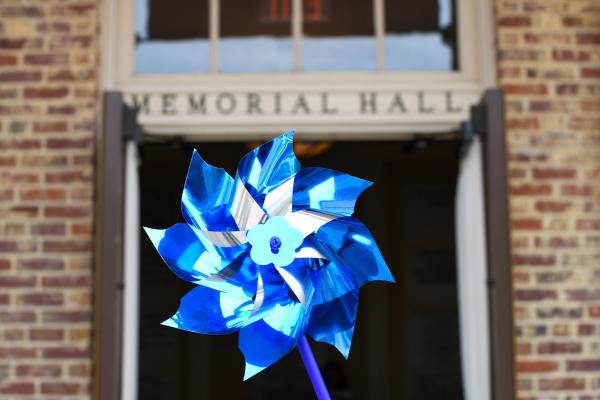 pinwheel in front of Memorial Hall