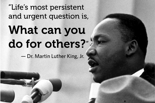 MLK photo with quote