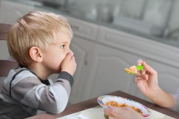 little boy refusing spoonful of food