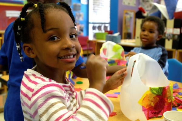 Two children in a preschool classroom