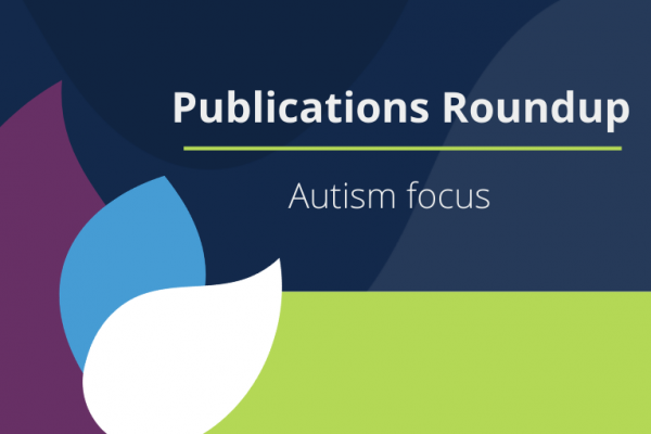 decorative media card with leaves and title saying publications roundup autism focus