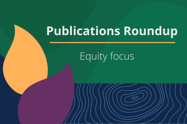 decorative media card with leaves and title saying publications roundup equity focus
